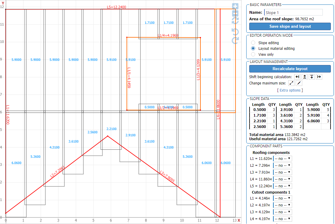 Slope editor for roof area and material estimate
